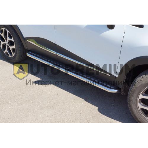 Защита порогов с алюминиевой площадкой (НПС) Renault KAPTUR с 2016